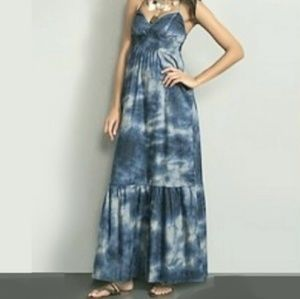 NY&CO Navy Blue Tie-Dye Boho Maxi Dress